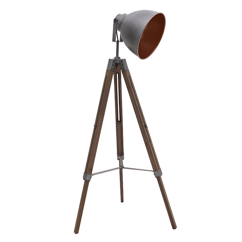 Φωτιστικό επιδαπέδιο μεταλλικό/ξύλινο natural/ασημί 40x18x137cm Inart 3-15-716-0221