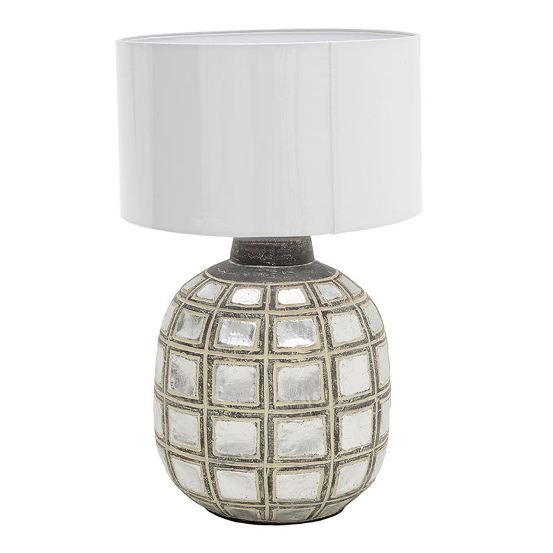 Φωτιστικό επιτραπέζιο κεραμικό αντικέ καφέ/ασημί 37x37x56cm Inart 3-15-411-0001