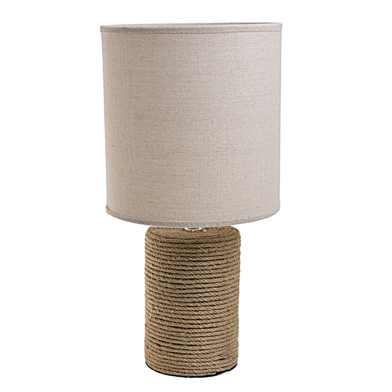 Φωτιστικό επιτραπέζιο πορσελάνινο με σχοινί μπεζ 23x23x47cm Inart 3-15-222-0008