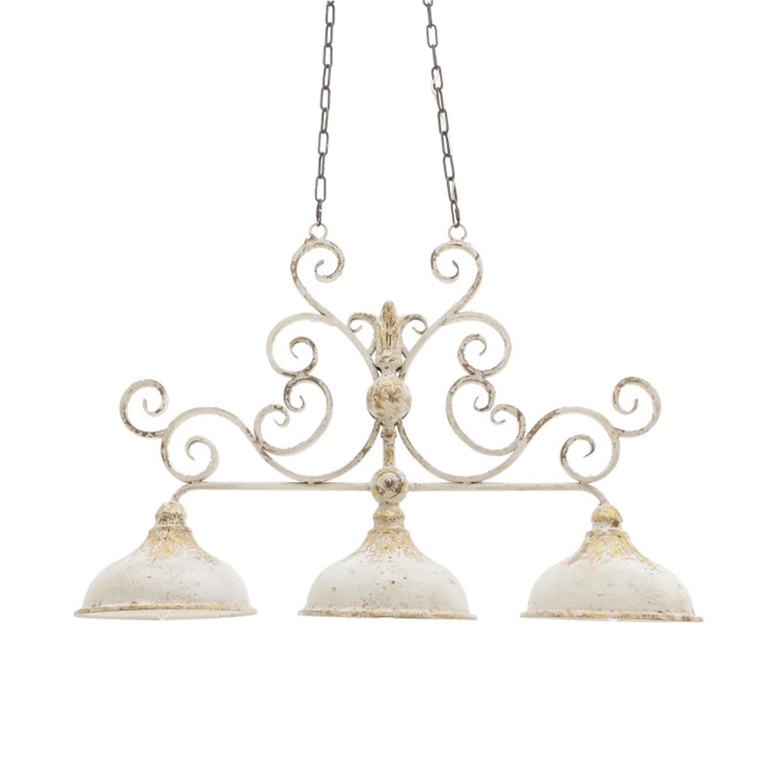 Φωτιστικό οροφής 3φωτο μεταλλικό αντικέ εκρού/χρυσό 95x27x64.5/125cm Inart 3-10-725-0040
