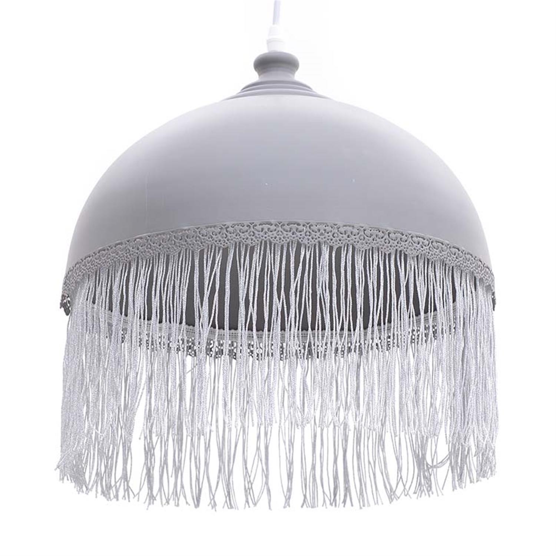 Φωτιστικό οροφής με κρόσσια μεταλλικό γκρι Δ33x37cm Inart 3-10-876-0113