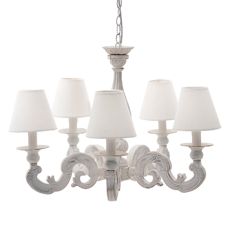 Φωτιστικό οροφής ξύλινο 5φωτο λευκό 66x63x48/110cm Inart 3-10-872-0025
