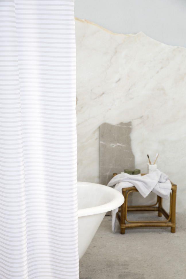 Κουρτίνα Μπάνιου Linium Μπεζ/Λευκό 180x180cm Nima