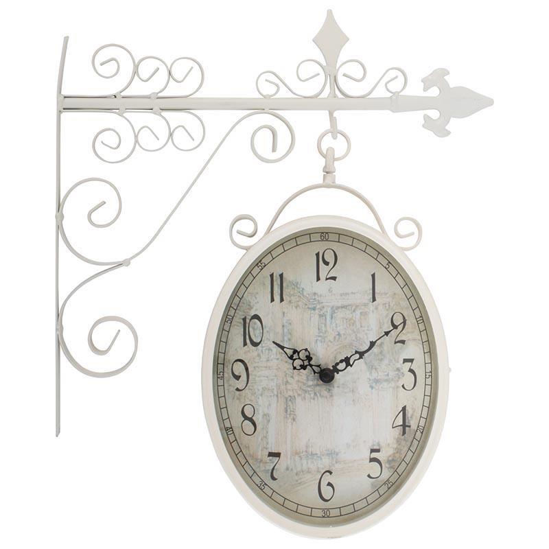 Ρολόϊ τοίχου σταθμού μεταλλικό λευκό 36x9x45cm Inart 3-25-021-0105