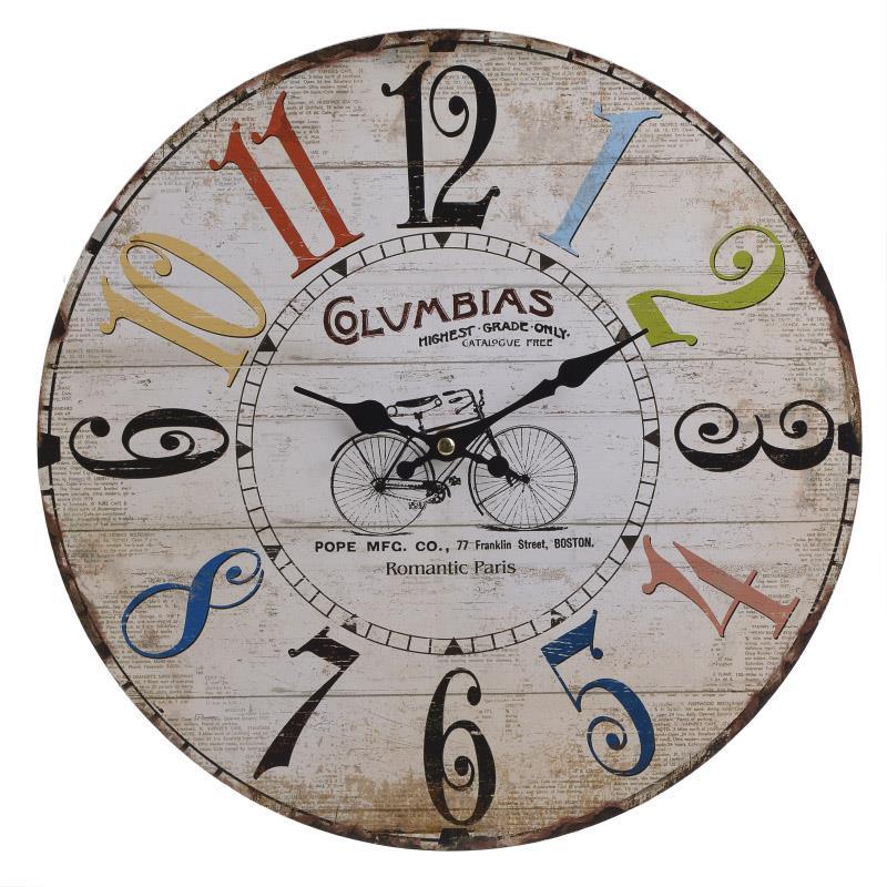 Ρολόι τοίχου ξύλινο με σχέδιο ποδήλατο Δ.34x3cm Inart 3-20-977-0101