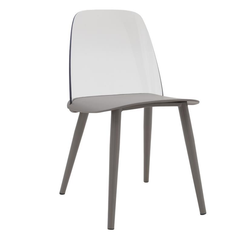 Καρέκλα pl με μεταλλικά πόδια γκρι 46.5x50x80.5cm Inart 3-50-680-0010