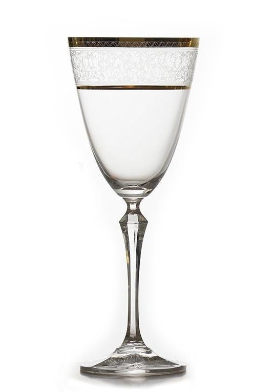 S/6 Ποτήρι κρασιού Elisabeth gold κρυστάλλινο διάφανο/χρυσό 250ml Bohemia Crystalex CZ