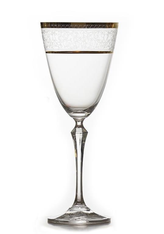 S/6 Ποτήρι νερού Elisabeth gold κολωνάτο κρυστάλλινο διάφανο/χρυσό 350ml Bohemia Crystalez CZ