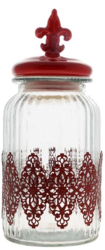 Δοχείο αποθήκευσης γυάλινο κεραμικό με μεταλλική γιρλάντα κόκκινο 26x11cm