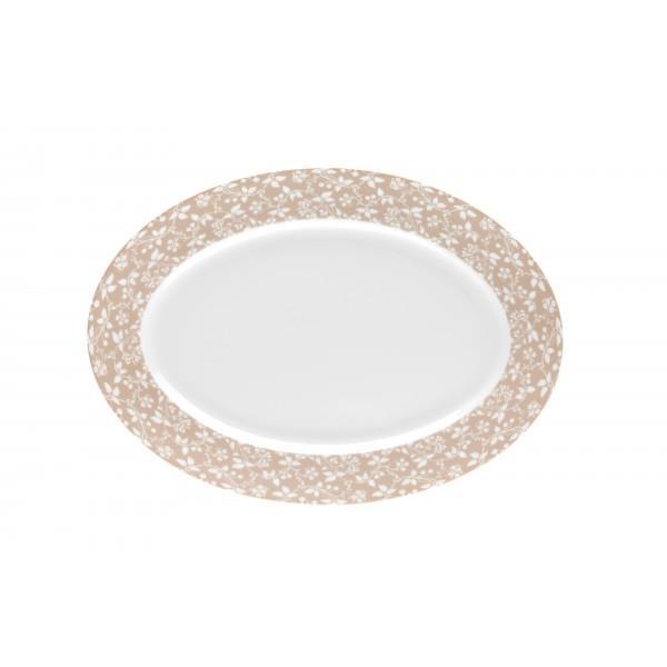 Πιατέλα σερβιρίσματος οβάλ πορσελάνινη λευκή/μπεζ 36cm Epoch Ιωνία 1070104