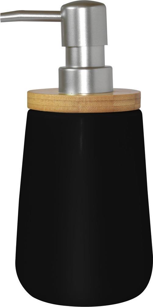 Αντλία σαπουνιού πορσελάνινη/bamboo μαύρη/natural 9x9x18.5cm Estia 02-4590
