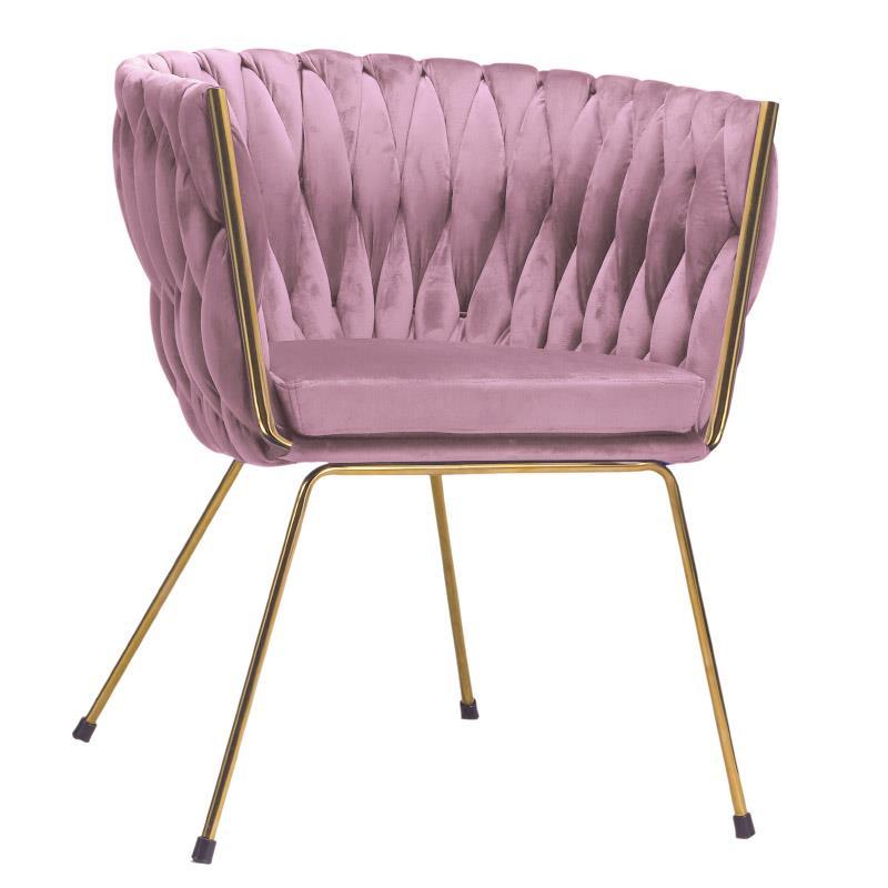 Πολυθρόνα βελούδινη/μεταλλική ροζ/μωβ/χρυσή 60x66x74_48cm Inart 3-50-728-0001