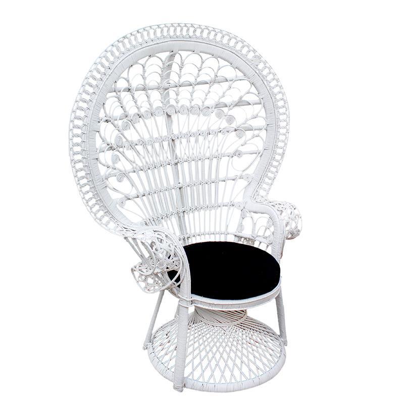 Καρέκλα Peacock rattan λευκή 115x72x149cm Inart 3-50-908-0001