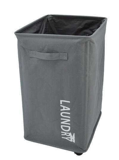 Καλάθι απλύτων laundry 70l διπλό υφασμάτινο γκρι 33x40x60cm