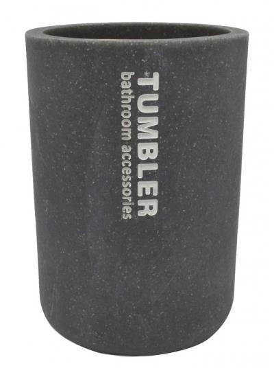 Ποτηράκι μπάνιου για οδοντόβουρτσες με όψη πέτρας polyester γκρι 7.5×7.5×10.7cm