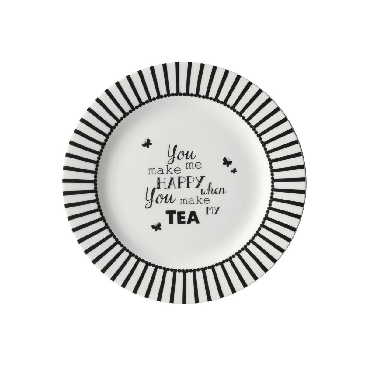 Πιάτο Happy Tea πορσελάνινο λευκό/μαύρο Δ18cm Dutch Rose