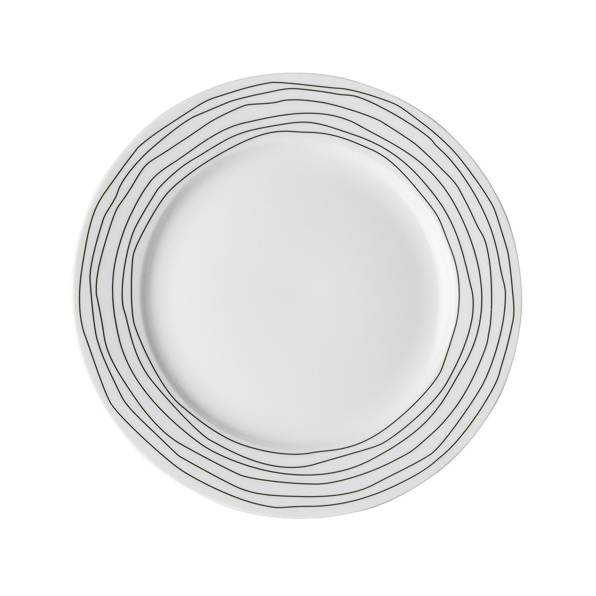 Πιάτο Stripe πορσελάνινο λευκό/μαύρο Δ21cm Dutch Rose