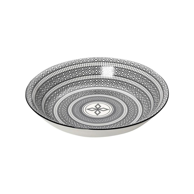 Πιάτο βαθύ Charlotte stoneware μαύρο/λευκό 23x23x4.8cm Espiel GUI421K6