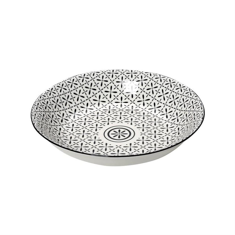 Πιάτο βαθύ Layla stoneware μαύρο/λευκό 23x23x4.8cm Espiel GUI420K6