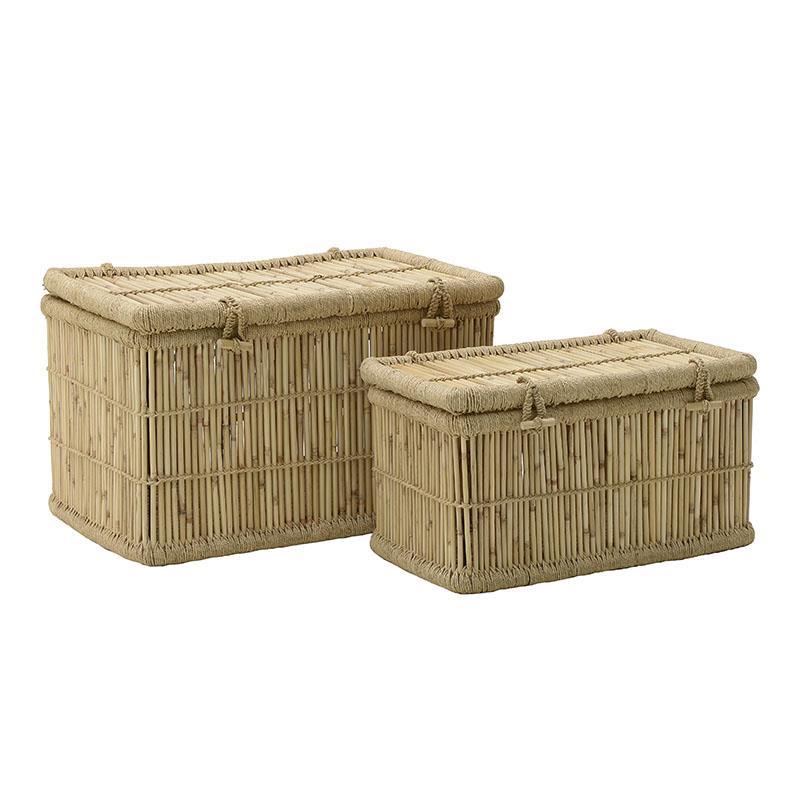 S/2 Καλάθι απλύτων μπαμπού natural 75x50x44cm Inart 3-65-492-0001