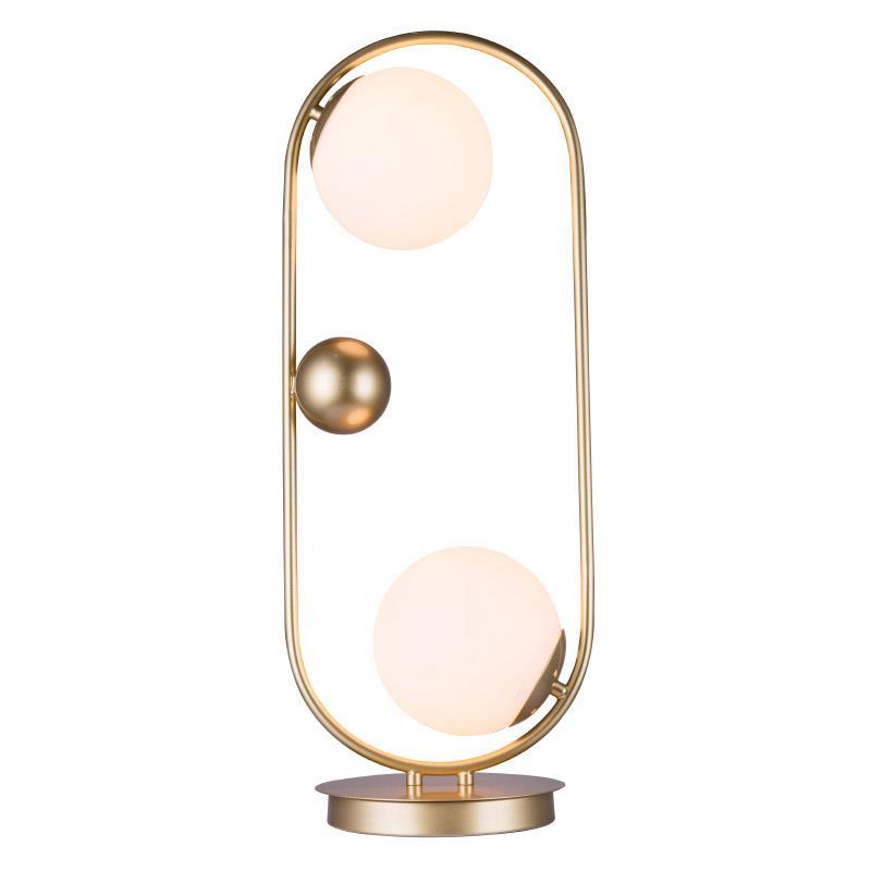 Φωτιστικό επιτραπέζιο 2φωτο μεταλλικό χρυσό/λευκό 25x25x65cm Inart 3-15-752-0003