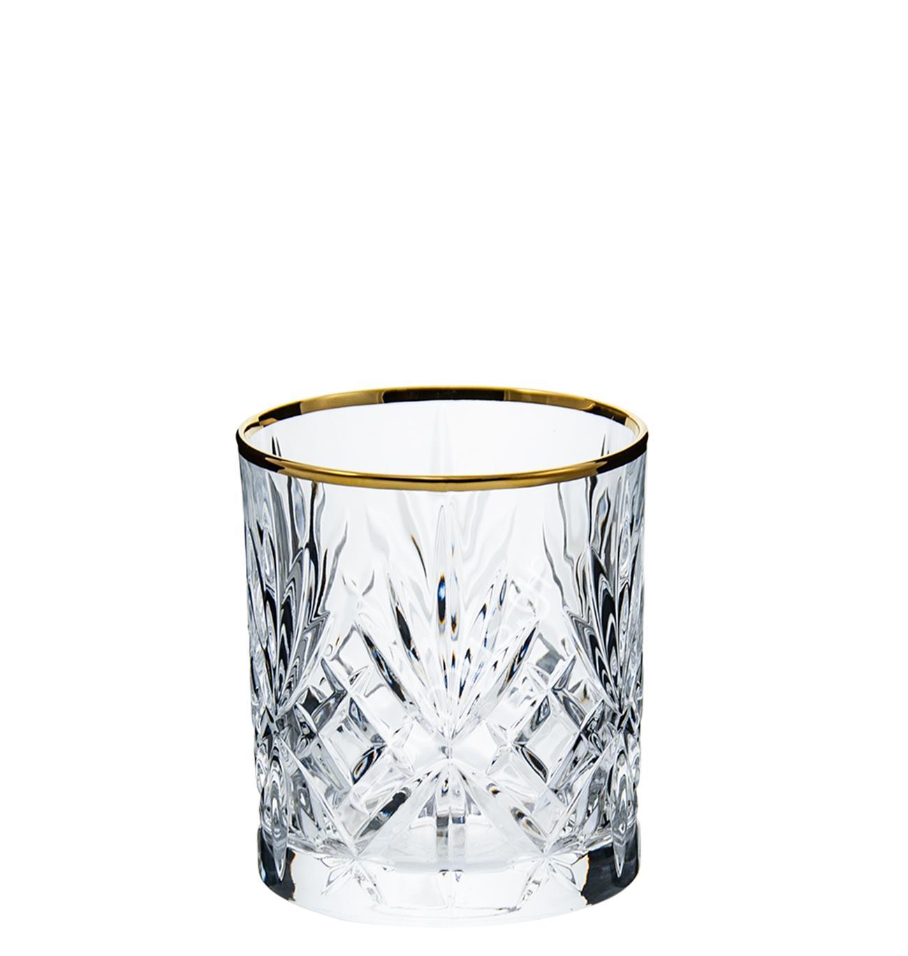 Σετ 6 ποτήρια ουίσκυ Melodia κρυστάλλινα με χρυσή ρίγα 310ml RCR