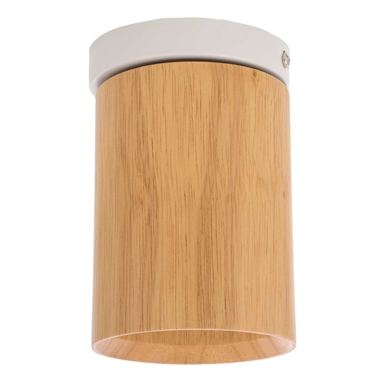 Φωτιστικό οροφής ξύλινο/μεταλλικό natural/λευκό 10x15cm Inlight 42158-W