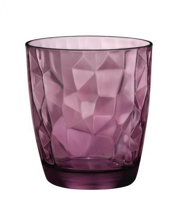 S/6 Ποτήρι κρασιού Diamond rock purple γυάλινο μωβ 30cl Bormioli Rocco
