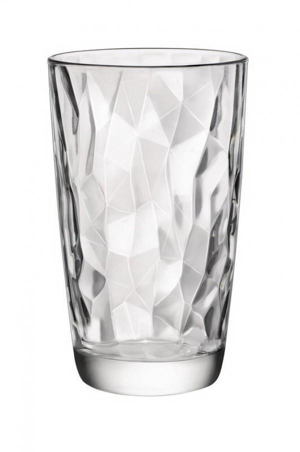 S/6 Ποτήρι σωλήνας Diamond γυάλινο διάφανο 47cl Bormioli Rocco