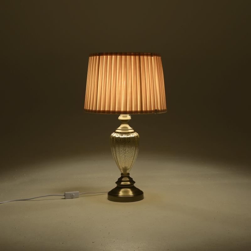 Φωτιστικό επιτραπέζιο γυάλινο/μεταλλικό χρυσό/εκρού 33x58cm Inart 3-15-620-0051
