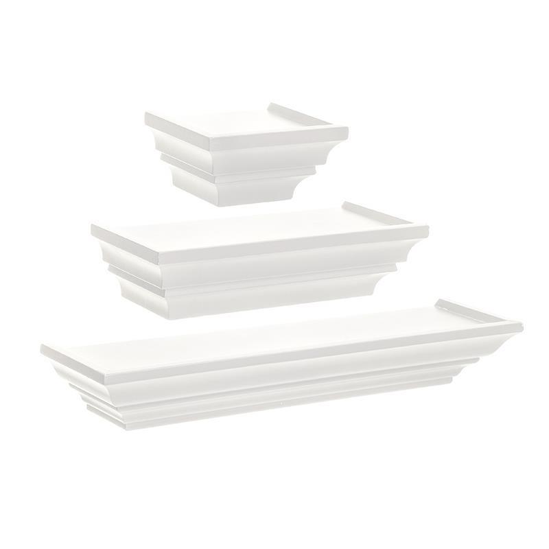 S/3 Ράφι τοίχου pl λευκό 46×10.5x6cm Inart 6-50-965-0007
