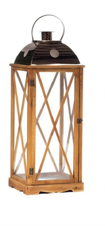 Φανάρι τετράγωνο ξύλινο γυάλινο 31.5×31.5x84cm