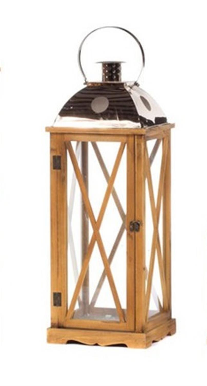 Φανάρι τετράγωνο ξύλινο γυάλινο 25.5×25.5x69cm