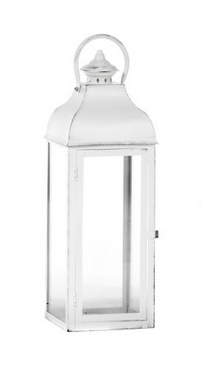 Φανάρι τετράγωνο μεταλλικό γυάλινο λευκό 55×18.5×18.5cm