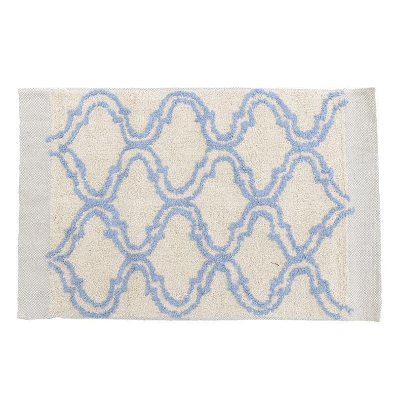 Πατάκι μπάνιου βαμβακερό λευκό/μπλε 50x80cm Inart 6-40-803-0012