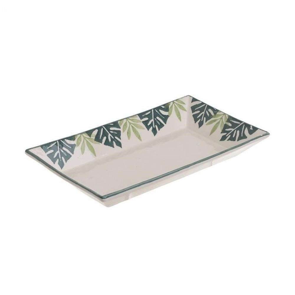 Μπωλ σαλάτας φύλλα κεραμικό εκρού/πράσινο 30x17x4cm Inart 6-60-022-0024