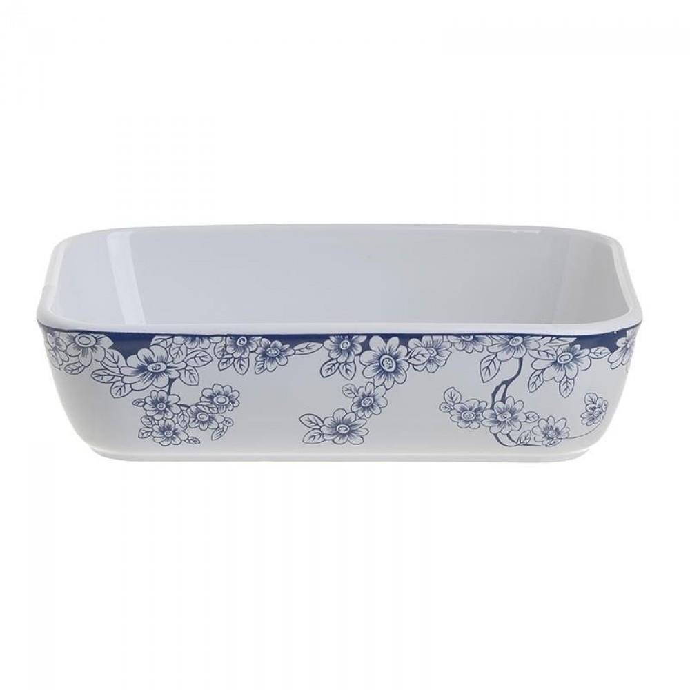 Σκεύος φούρνου πυρίμαχο λευκό/μπλε 22.5×16.5×5.5cm Inart 6-60-088-0011