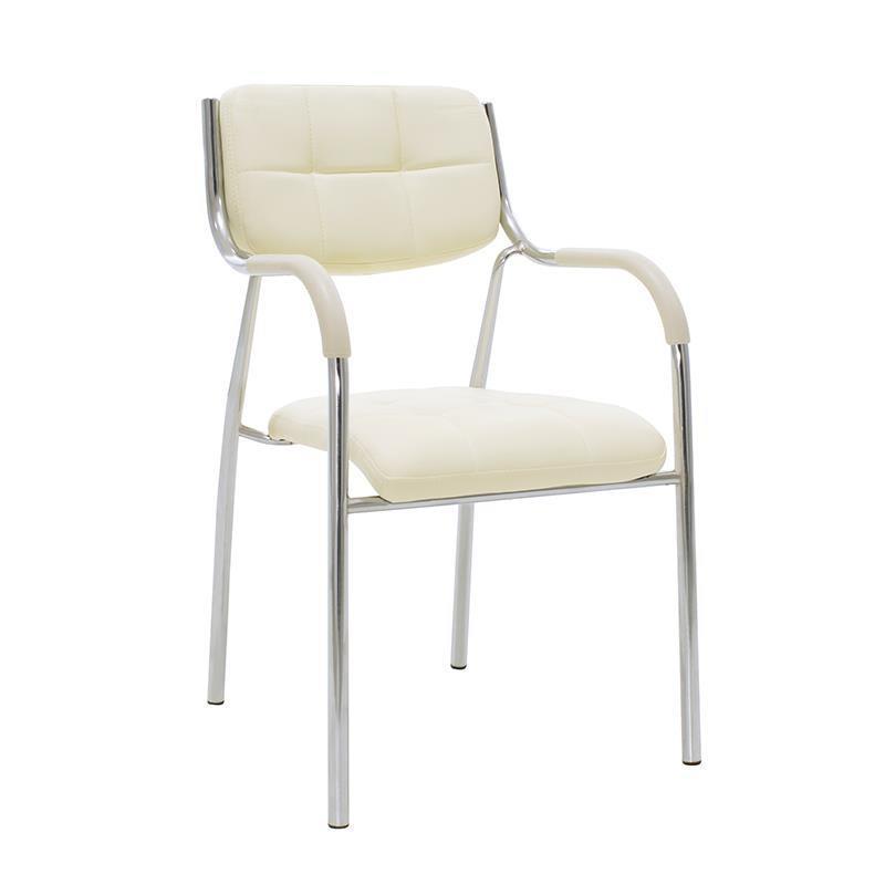 Καρέκλα γραφείου μεταλλική/pvc ασημί/εκρού Inart 6-50-676-0035