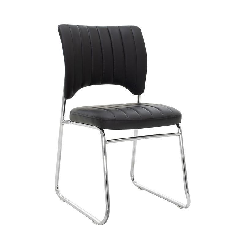 Καρέκλα γραφείου μεταλλική/δερματίνη ασημί/μαύρη Inart 6-50-676-0034