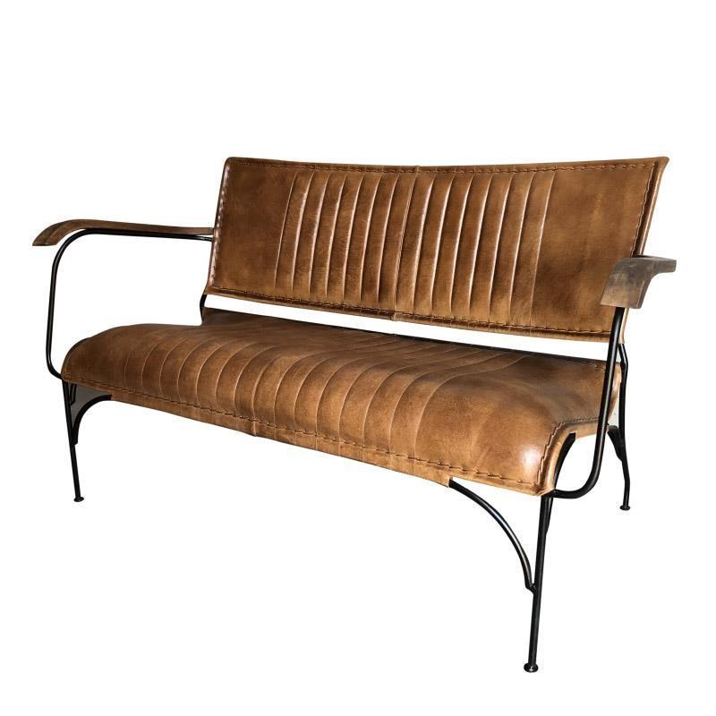 Καρέκλα μεταλλική/δερμάτινη καφέ/μαύρη 49X80x98cm Inart 3-50-556-0032