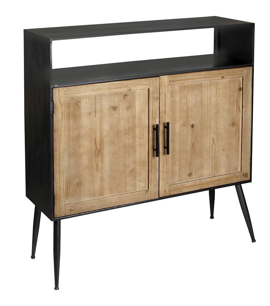 Ντουλάπι ξύλινο/μεταλλικό natural/μαύρο 100x30x111cm Espiel FOP209