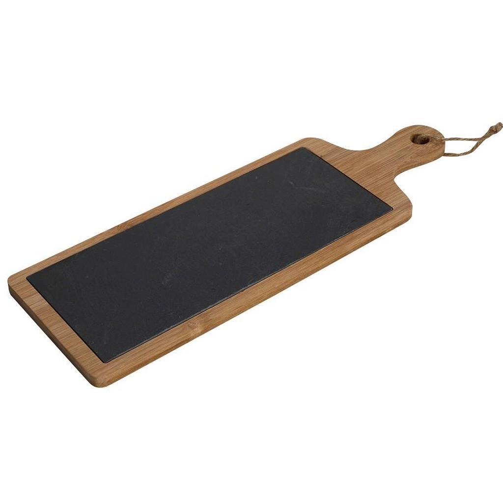 Πλατώ σερβιρίσματος πέτρα/μπαμπού με λαβή καφέ/μαύρο 43.5x15x1cm Espiel LAP108