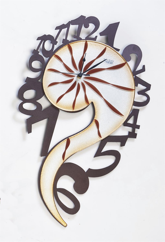 Ρολόι τοίχου Ακταία χειροποίητο μεταλλικό με φυσητό γυαλί 38.8×63.7cm Moda Mostra MR384