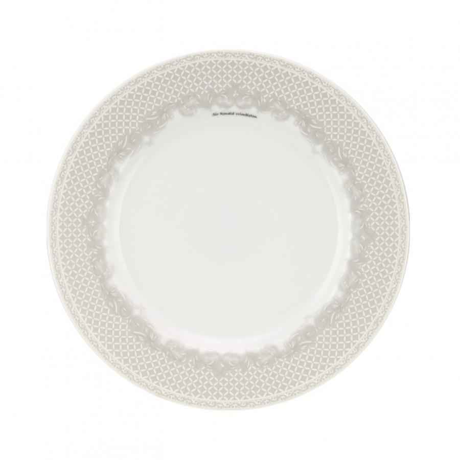 Πιάτο ρηχό Ρόμβοι πορσελάνινο λευκό/γκρι Δ27cm
