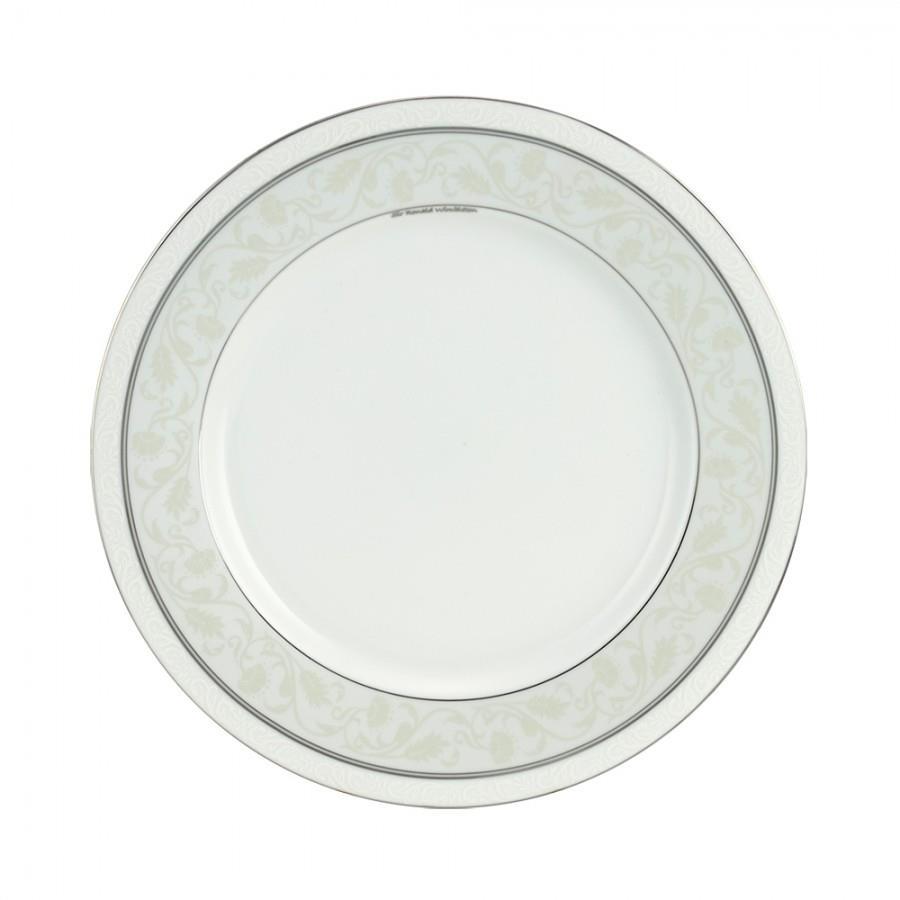 Πιάτο ρηχό Baton Rouge πορσελάνινο λευκό/πλατίνα Δ27cm