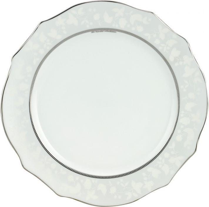 Πιάτο φρούτου Dizon πορσελάνινο λευκό/πλατίνα Δ19cm
