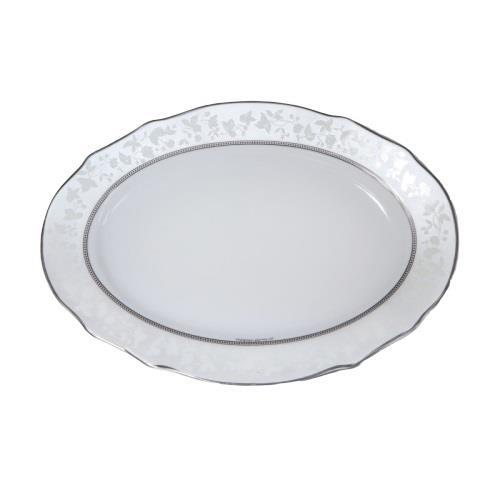 Πιατέλα σερβιρίσματος οβάλ Dizon πορσελάνινη λευκή/ασήμι Δ36cm