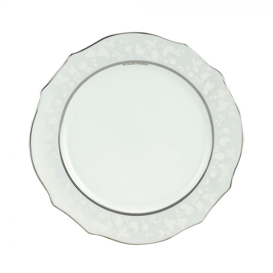 Πιατέλα σερβιρίσματος στρογγυλή Dizon πορσελάνινη λευκή/πλατίνα Δ32cm