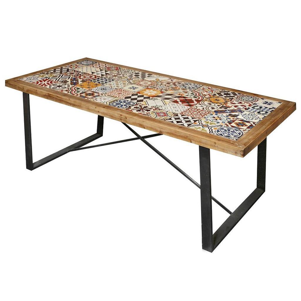 Τραπέζι ξύλινο/μεταλλικό με πλακάκι πολύχρωμο 195x90x77cm Espiel SAZ105