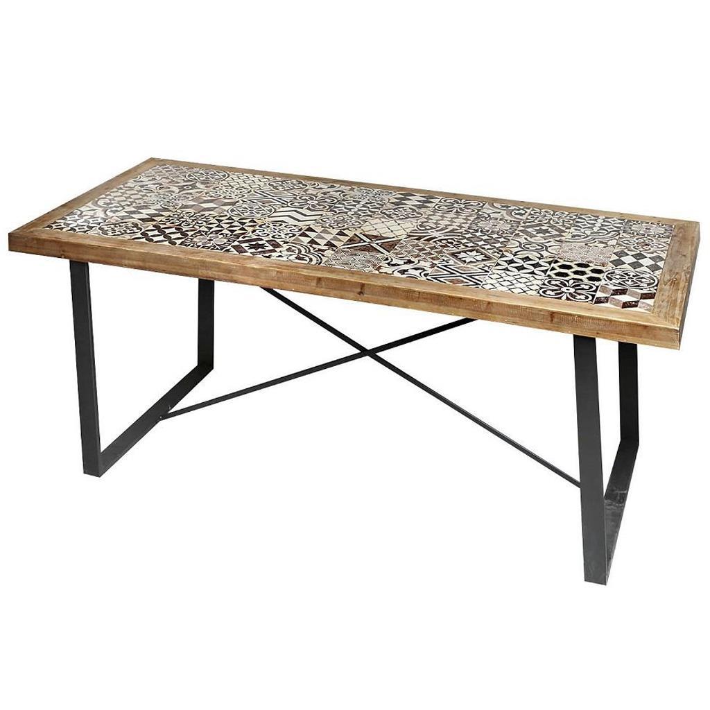 Τραπέζι ξύλινο/μεταλλικό με πλακάκι καφέ/λευκό/μαύρο 195x90x77cm Espiel SAZ218
